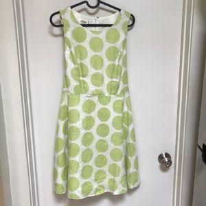 Talbots white with green polkadot dress Size 4P